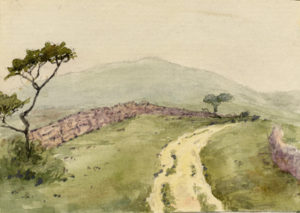 Watercolor of pastures and dirt road