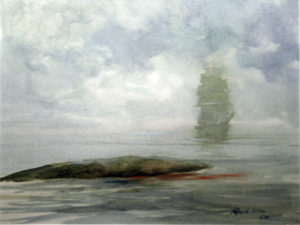 Painting of ocean and distant ship