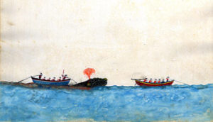 Painting of whalers harpooning whale