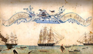 Painting with whaling ship