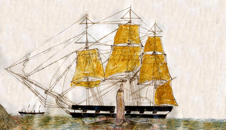Etching of a whaling ship