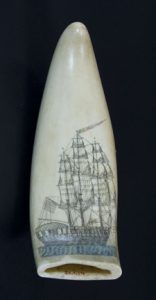 Scrimshaw with whaling ship