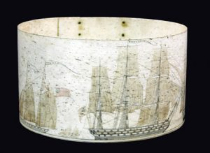 Scrimshaw with ships