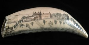 Scrimshaw with buildings