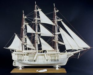Scrimshaw model ship