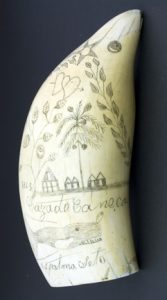 Scrimshaw with tropical scene