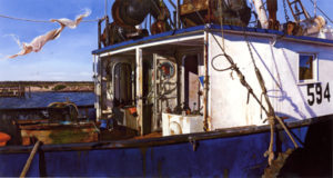 Painting of fishing boat,