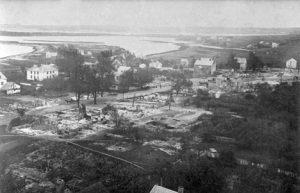 Hurricane aftermath aerial shot