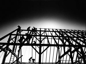 Martha's Vineyard Agricultural Society Hall frame under construction